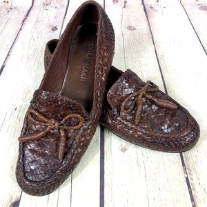 Cole Haan Woven Brown Leather Bow Loafers